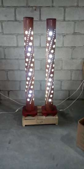 Lámpara de Piso Caña Guadua (Bambu) Artesanal Decorativa