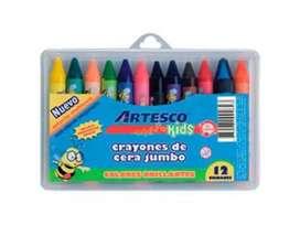 Caja de crayones de cera Jumbo Artesco 12 colores Estuche Nuevo