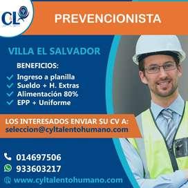 Se requiere Prevencionista/ Villa El Salvador