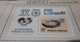 Argentina 78, series mundial de fútbol, 78 1 bloque y un sobre con estampillas