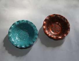 2 platitos cerámicos para colgar, turquesa y cobre