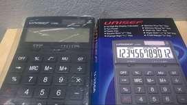 Calculadora Unisef 12 Dígitos De Almacén Tamaño Grande Solar