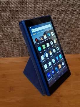 Tablet Amazon Fire HD8 7ma gen + Funda + auriculares + Cargador