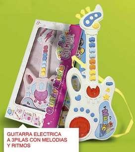 Guitarra Infantil Con Luces Y Sonido Juguete Operativo Niño
