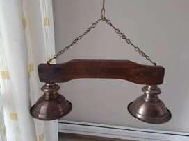 Lámpara de madera cobre