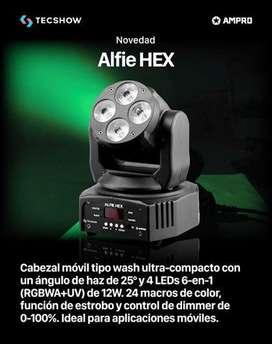 Cabezal Alfie HEX!!! RGBWAUV!!! 4 LED 12w 6 en 1 c/u!!! DMX, Auto y Sound!!!