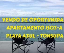 Esmeraldas Tonsupa- OPORTUNIDAD POR VIAJE  - VENDO Departamento frente al mar TOTALMENTE AMOBLADO -  RESORT PLAYA AZUL