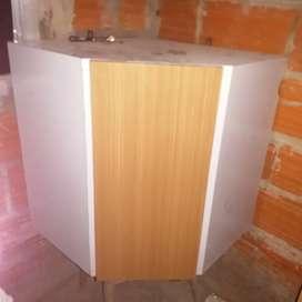 Alacena esquinera, de fórmica, 2 estantes