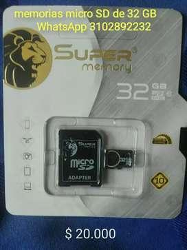 Memorias micro SD de 32 GB