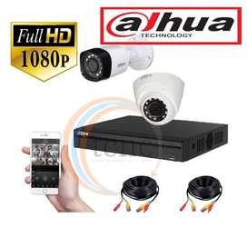KIT DAHUA FULL HD DVR+CÁMARAS 1080+CABLES PARA CONEXIÓN+FUENTES DE ALIMENTACIÓN