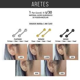 Piercing 2Pcs Bolita Oreja Helix Arete Tragus Real Cartilago Arete Acero Quirúrgico Unisex Hombre Mujer Mr.BoU