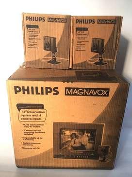 hermoso sistema de observación  Philips con monitor y 3 cámaras como nuevo