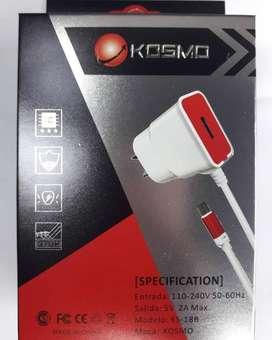 Cargador Rapido 2A Kosmo USB EXTRA -  USB TIPO C Samsung S8 s8 plus S9 s9 plus S10 s10 Plus