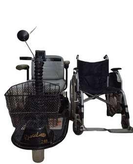 Silla de ruedas electrica, silla ruedas sencilla y caminador