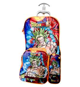Mochila Dragon Ball Z Con Rueda Con Cartuchera + Lonchera