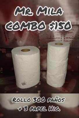 Rollo de Cocina 300 paños + 3 papel higienicos 100 mts cada uno