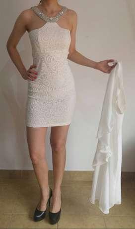 Vestido de Fiesta Corto 2 piezas falda desmontable Color Blanco. Talle 1/2