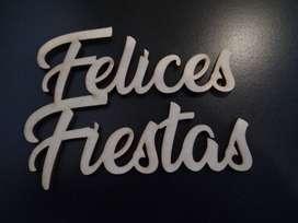 """Cartel """"Felices Fiestas"""" - Mdf 3 Mm - Por Mayor"""