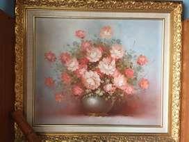 Cuadro en oleo con marco de madera. Flores