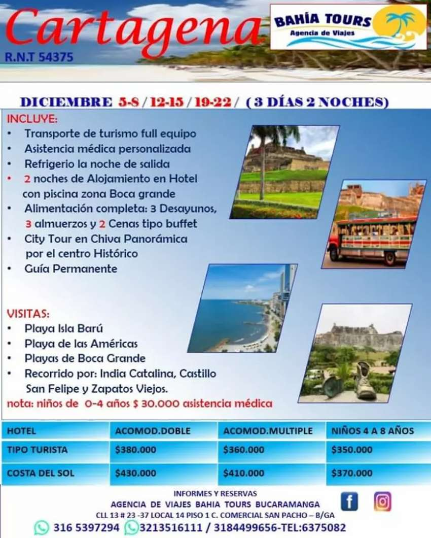 Tour cartagena salidas diciembre 12 y 19 0