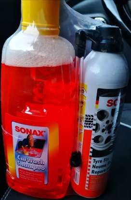 Sonax Kit cera, shampoo y repara neumatico