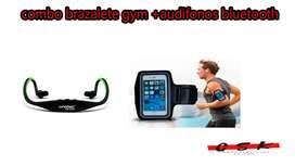 combo Audífonos Bluetooth + Brazalete Gym Para Celular