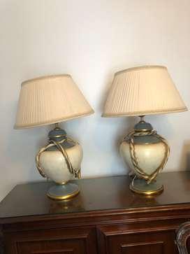 2 Lámparas de mesa cerámica con pantalla