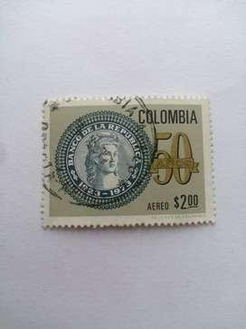 ESTAMPILLA DE COLOMBIA DE 1973 DE LOS 50 AÑOS BANCO DE LA REPUBLICA.