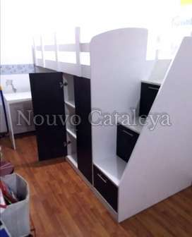 Cama camarote, escritorio, closet