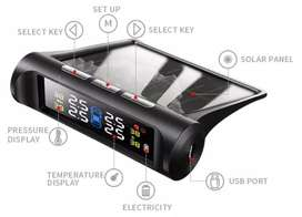 Sensor con panel solar de presión de neumáticos TPMS