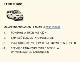 RAPID FURGO . OFRECE SERVICIO DE EXPRESO PERSONAL, ESCOLAR