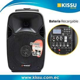 """Caja amplificada Italy Audio Meline08 8"""" 80000 watts bateria recargable INCLUYE microfono inalambrico y control remoto"""
