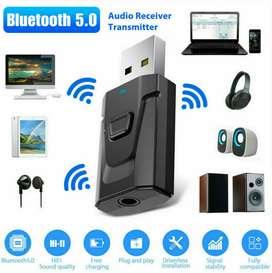 Bluetooth 5.0 Receptor Transmisor Audio Inalámbrico 4IN1 3.5mm USB AUX Adaptador de Estados Unidos