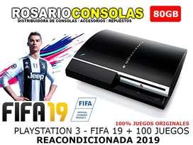 PLAYSTATION 3 80GB REACONDICIONADAS FULL + FIFA 19 + 100 JUEGOS