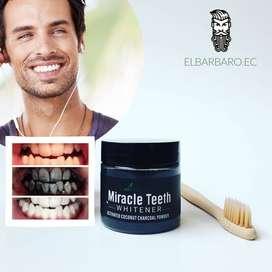 Blanqueador Dental Polvo Carbón Coco Activo Miracle Dientes Blancos