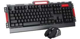 Combo Teclado Mouse Gamer Inalambrico Metalico