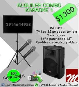 ** Alquiler rental Karaoke con musica videos tv bafle microfonos**