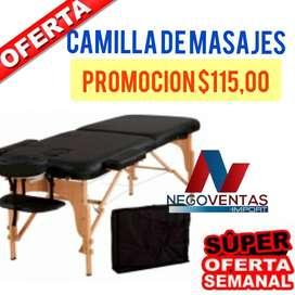 CAMILLA PORTATIL 180 X 60 MADERA REFORZADA Y MATERIAL DE CUERINA