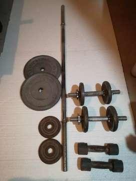 Barra y pesas + discos