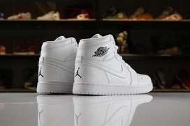 Botas Nike Jordan 1 Cuero Todo Blanco Envio Gratis