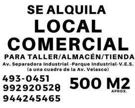 Se Alquila Local Comercial de 500 m2 todo o parte