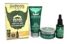 Kit Clubman 3 En 1 Tratamiento Barba+cera+aceite Envio Inmediato