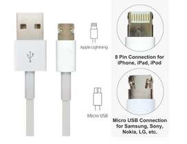 Cable USB 2 en 1 android iphone micro usb lightning Domicilio Gratis!