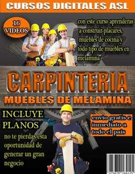CURSO DE CARPINTERIA EN MELAMINA - 16 VIDEOS - PLANOS - PROYECTOS