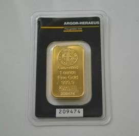 Lingote de oro 1 onza 24k sellado importado
