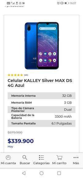 Vendo Celular Kalley Silver 32 gb nuevo