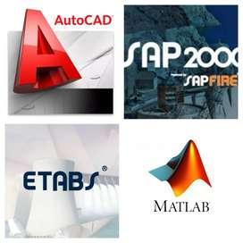 SAP, AUTOCAD,MATLAB,ETABS