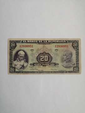 Billete 20 pesos 1951.