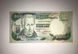 BILLETE 200 PESOS ORO 01/ABR/1987 COLOMBIA