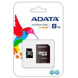 Memoria Micro Sd Adata 8gb + Adaptador Sd Original Clase 4